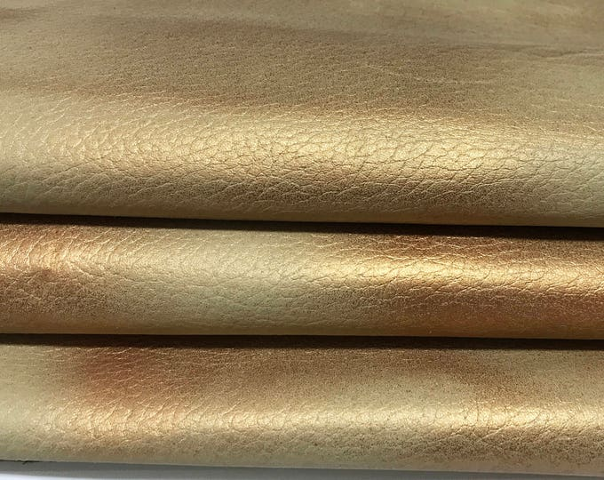 COPPER distressed on GRAINY BEIGE Italian lambskin Lamb leather skin skins hide hides