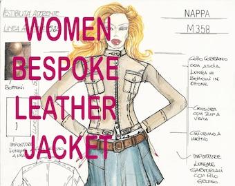 WOMEN LEATHER JACKET Bespoke Made To Measure  to order Italian handmade genuine leather jacket coat made in Italy custom customized order