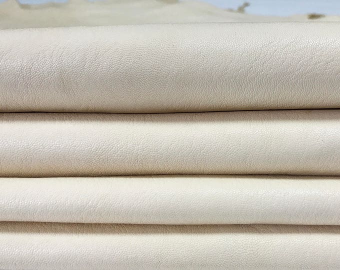 Italian lambskin leather 12 skins hides natural unfinished BUTTER CREAMER IVORY vegetable tanned 80-90sqf