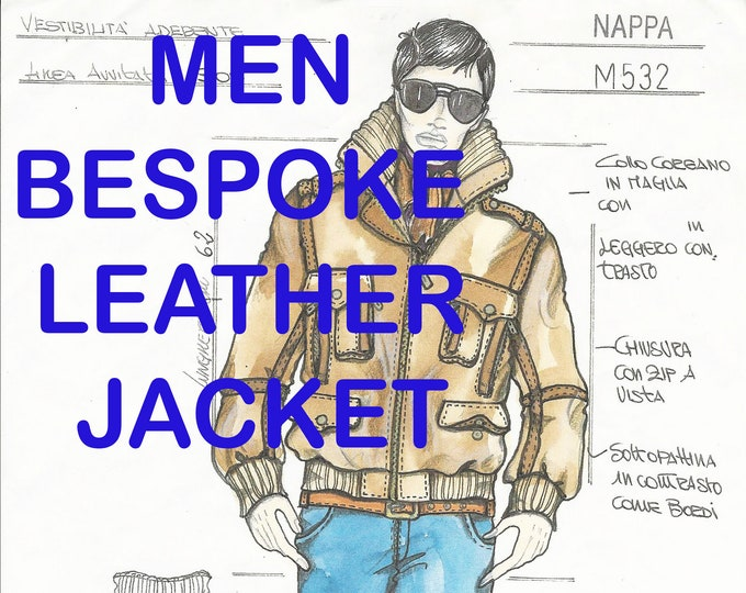 Featured listing image: MEN LEATHER JACKET Bespoke  Made To Measure made to order Italian handmade Men genuine leather coat made in Italy custom customized order