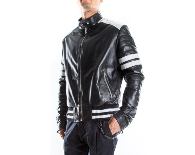 Italian handmade Men genuine lambskin Lamb Bomber leather jacket BLACK & WHITE  S to 2XL