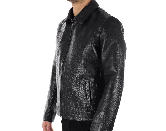 Italian handmade slim fit Men genuine goat leather jacket crocodile black