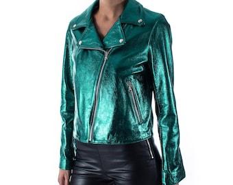 Italian handmade Women genuine lambskin leather biker jacket slim fit Metallic Teal