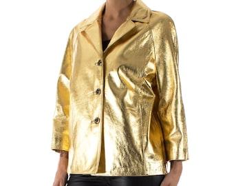 Italian handmade Women genuine lambskin leather jacket color Metallic Gold size M