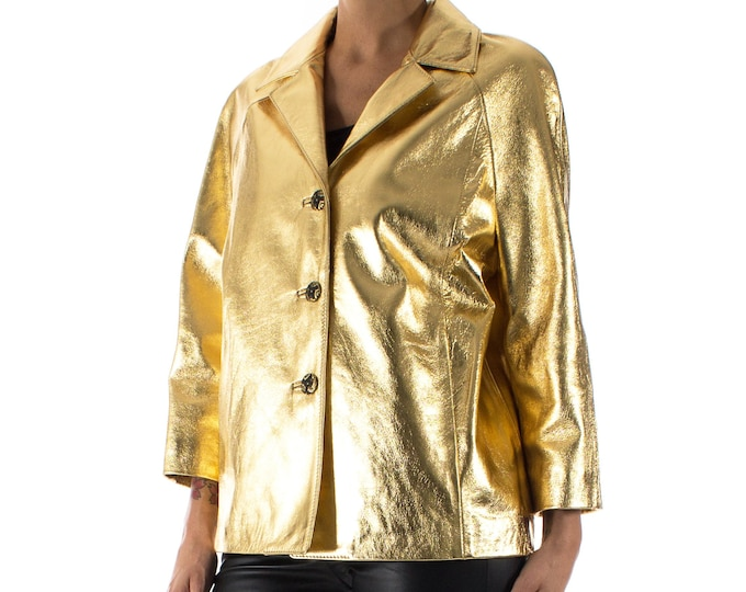 Italian handmade Women genuine lambskin leather jacket color Metallic Gold size M
