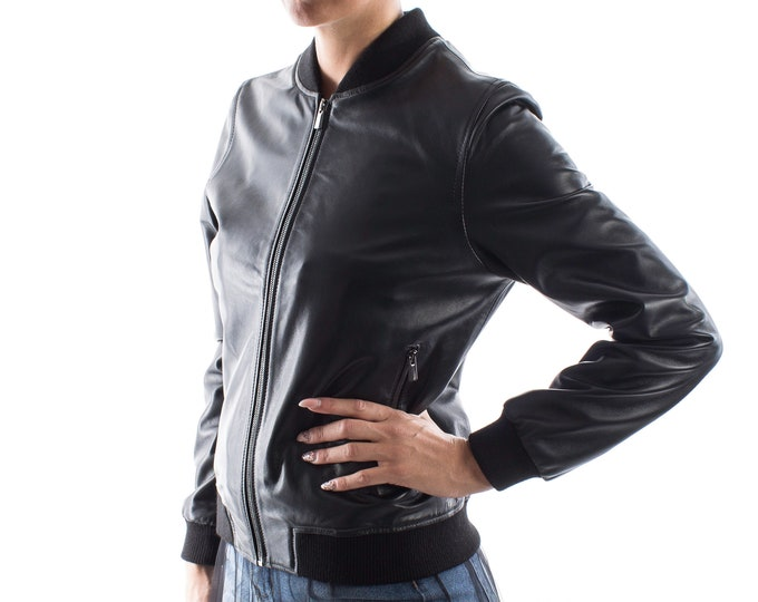 Italian handmade Women soft genuine lambskin leather bomber jacket Black