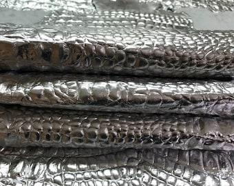 Italian Goatskin leather 12 skins hides METALLIC SILVER CROCODILE Alligator embossed 75-80sqf