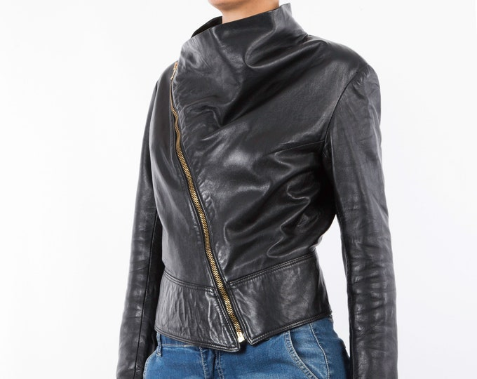 Italian handmade Women genuine soft lambskin leather trendy biker asymmetrical jacket slim fit black