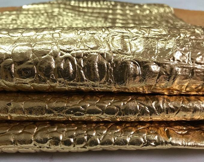 METALLIC GOLD CROCODILE Alligator embossed Italian Lambskin Lamb SHeep leather  skins hides skin hide 6+sqf