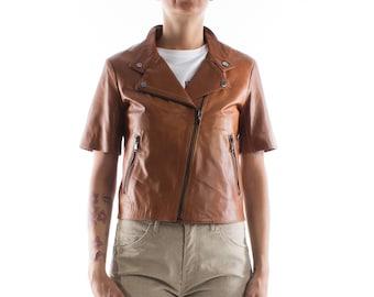 Italian handmade Women genuine calf leather biker jacket slim fit color natural brown