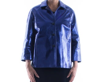 Italian handmade Women genuine lambskin leather jacket color Metallic Blue size M