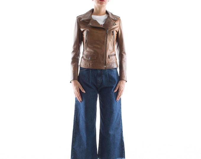 Italian handmade Women genuine leather biker jacket slim fit color brown distressed