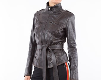 Italian handmade Women genuine soft leather jacket belted slim fit Dark Brown