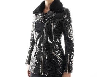 Italian handmade Women genuine leather long biker jacket slim fit shiny patent black crocodile print shearling collar