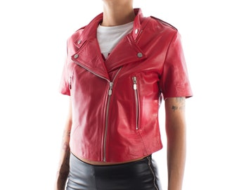 Italian handmade Women soft genuine lambskin leather fitted jacket slim fit color RED short sleeves Light weight