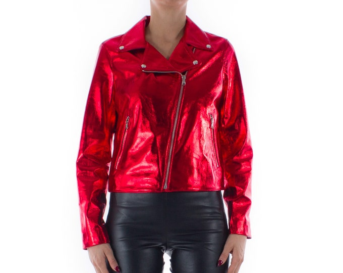 Italian handmade Women genuine lambskin leather biker jacket slim fit Metallic Red