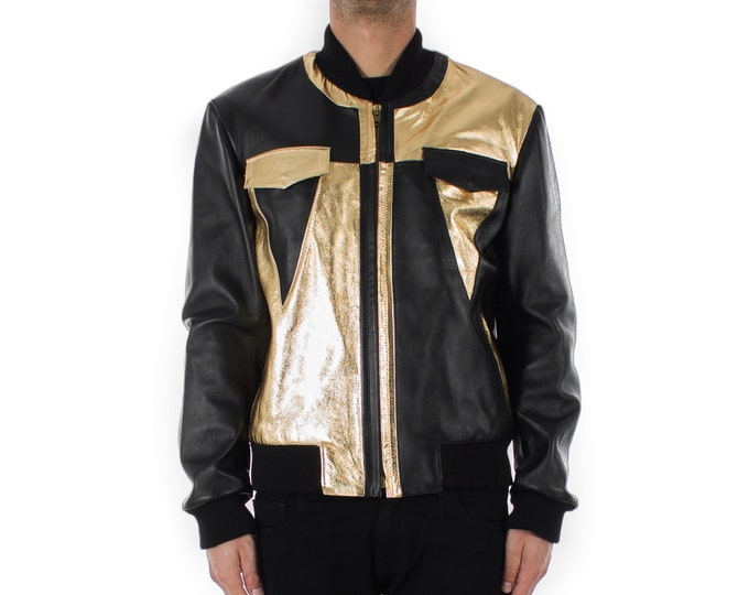 Italian handmade Men soft genuine lambskin Bomber leather jacket color Black & Metallic Gold