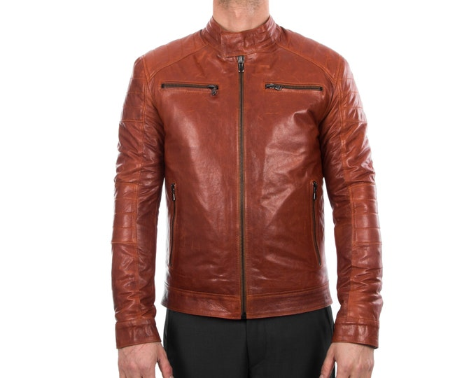 Italian handmade Men Lamb lambskin grenuine leather biker jacket slim fit cognac brown antiqued vintage look S to XL