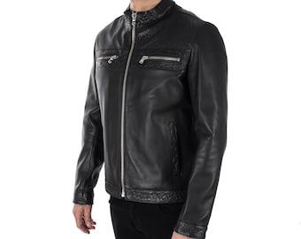 Italian handmade Men genuine lambskin leather jacket color 3 kind of black Black SMOOTH, WOVEN,CROCODILE Embossed
