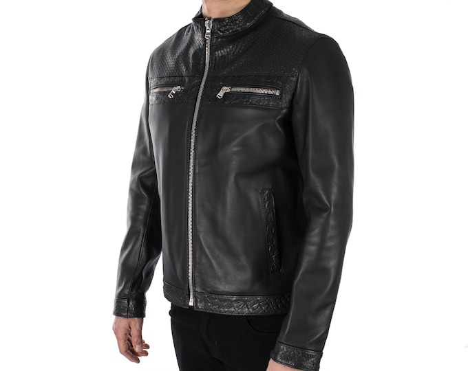 Italian handmade Men genuine lambskin leather jacket color 3 kind of black Black SMOOTH, WOVEN,CROCODILE Embossed