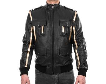 Italian men genuine lamb leather bomber jacket black & gold S To 2XL