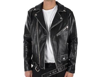 Italian handmade Men genuine lambskin leather biker jacket slim fit vintage Black
