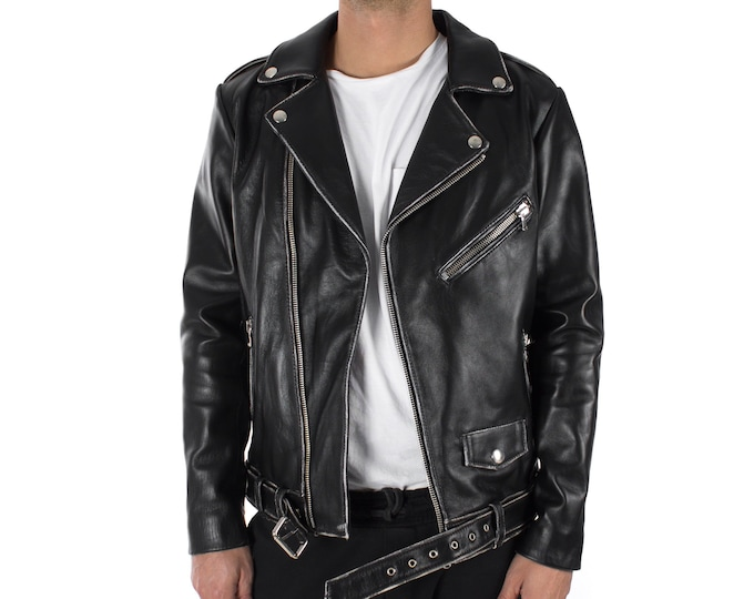 Italian handmade Men genuine lambskin leather biker jacket slim fit vintage Black