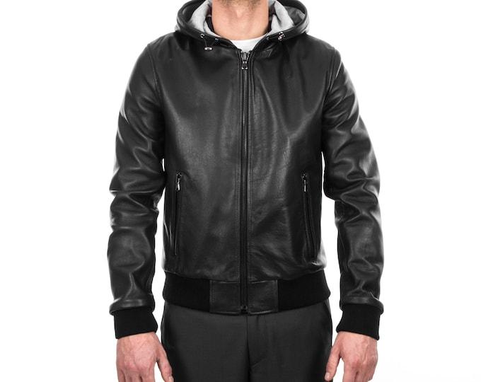 Italian handmade Men soft Genuine leather hooded bomber jacket color Black