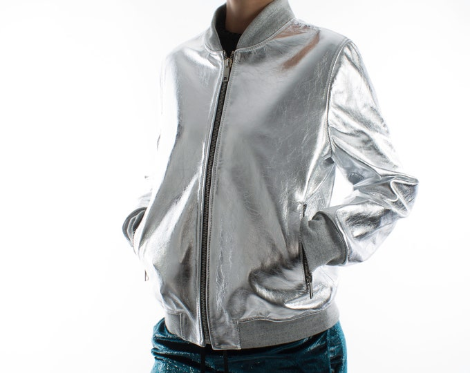 Italian handmade Women genuine lambskin leather bomber jacket METALLIC SILVER