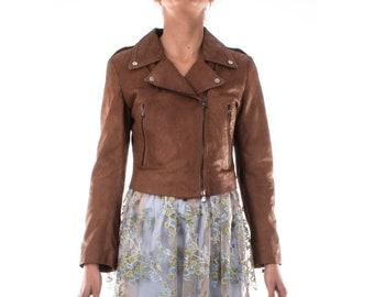 Italian handmade Women genuine soft lambskin leather trendy cropped biker jacket slim fit color BROWN snake cut