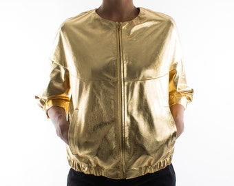 Italian handmade Women genuine lambskin leather bomber jacket loose comfort fit METALLIC GOLD
