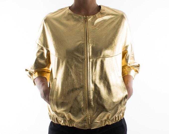 Italian handmade Women genuine lambskin leather bomber jacket loose comfort fit METALLIC GOLD