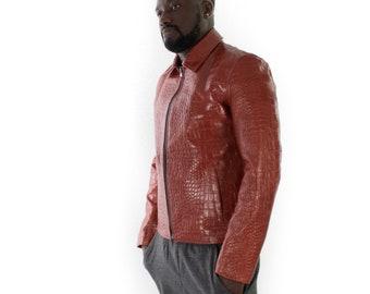 Italian handmade slim fit Men genuine goat leather jacket crocodile cognac brown XS to 2XL
