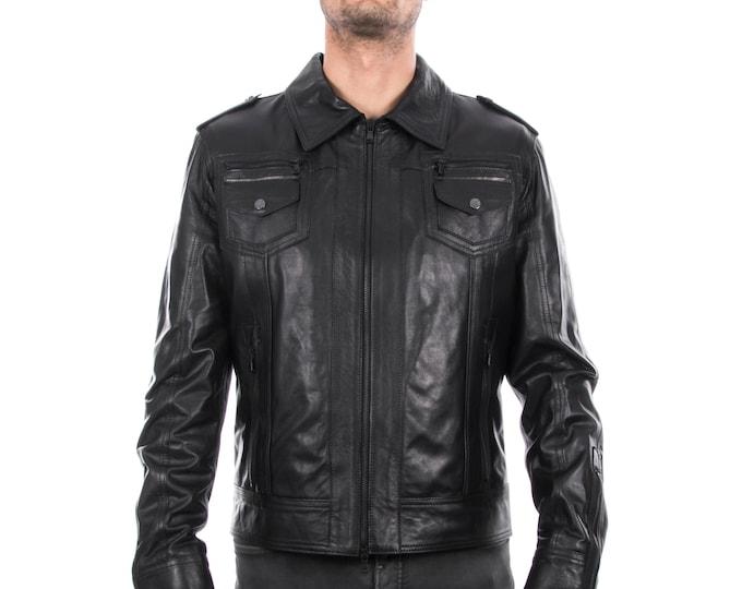 Italian handmade Men genuine lambskin leather jacket slim fit color Black