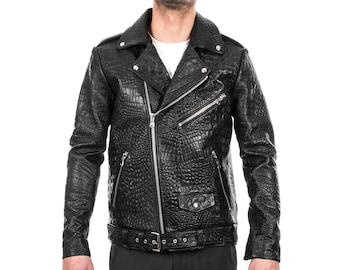 d5d9c71f6f7d Italian handmade Men black Crocodile leather biker jacket slim fit XXS to  3XL
