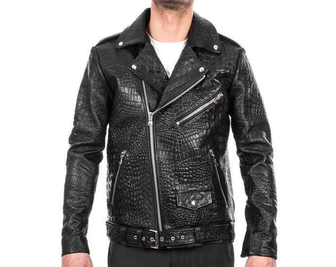 Italian handmade Men black Crocodile leather biker jacket slim fit XXS to 3XL