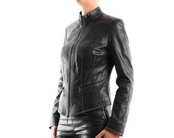 Italian handmade Women soft genuine lambskin leather jacket color black