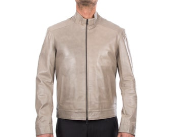 Italian handmade Men soft lambskin genuine leather jacket color Grey S to XL