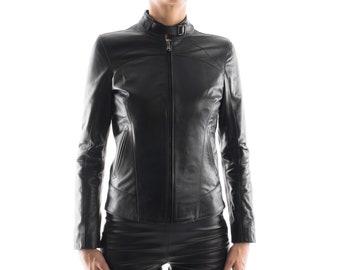Italian handmade Women soft genuine lambskin leather jacket slim fit color Black