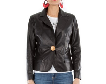 Italian handmade Women genuine soft lambskin leather blazer lightweight jacket slim fit color black