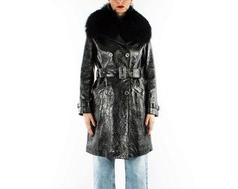 Italian handmade Women genuine soft patent black lambskin trench coat genuine removable fox fur collar