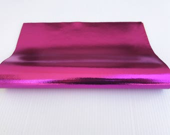 "METALLIC HOT PINK fuchsia fuschia Italian genuine lamb lambskin sheep leather piece 8""x10"" material for sewing craft fabric 0.7mm  #CI5"