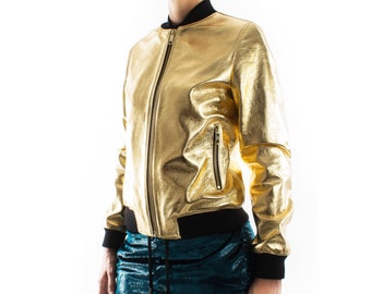 Italian handmade Women genuine lambskin leather bomber jacket METALLIC GOLD