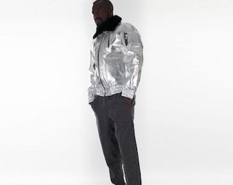 Italian handmade Men aviator  Bomber genuine leather jacket comfortable fit metallic silver sheepskin fur collar S to 2XL
