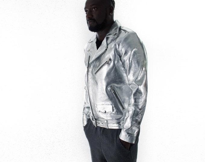 Italian handmade Men genuine leather biker jacket slim fit metallic silver XXS to 2XL
