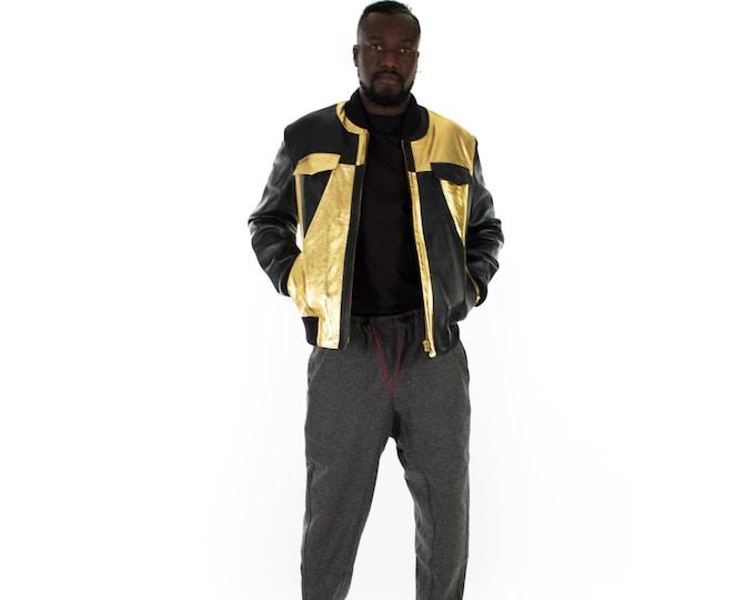 Italian handmade Men soft genuine lambskin Bomber leather jacket color Black & Metallic Gold S to XL