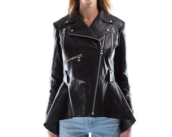 Italian handmade Women genuine leather long biker jacket slim fit black XS to 2XL