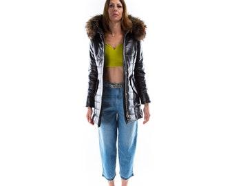 Italian handmade Women genuine soft lambskin leather hooded quilted warm jacket coat slim fit color black