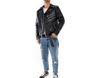 Italian handmade Men black Crocodile leather biker jacket slim fit XXS to 3XL