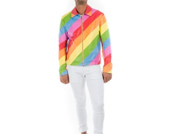 Italian handmade slim fit pride Gay Men genuine Lambskin leather Lightweight jacket Multicolor RAINBOW XS to 2XL